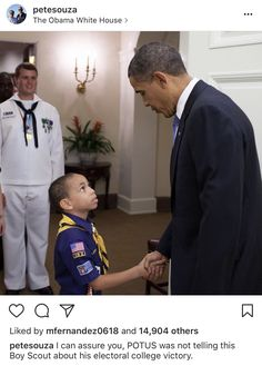 Actually, the little guy's a Cub Scout, but all the same, he appears to intrinsically understand what a President should behave and sound like... unlike the thousands of boys at the recent Jamboree.