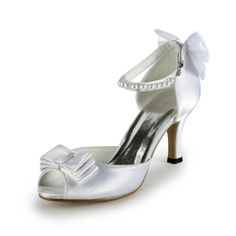 TDA TH12126 Womens Peep Toe Ivory Satin Ankle Strap Evening Parting Bridal Wedding Dress Bowknot Sandals 8 M US * Check out the image by visiting the link.