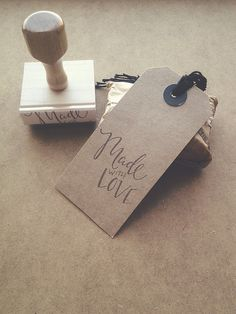 Hand Lettered 'Made With Love' Stamp  Wood by IndustrialMustache, $28.50