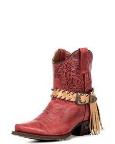 Women's Scarlett Fringe Short Boot - Aged Red, Aged Red