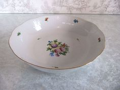"""Old Mark Herend Hungary VB Floral Hand Painted Serving Dish Bowl 80 10.5"""""""