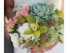 Exotic bridal bouquet - orchid, roses, hydrangeas