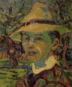 ernstludwigkirchner: Selbstbildnis mit Pfeife von Ernst Ludwig Kirchner, c. 1914.