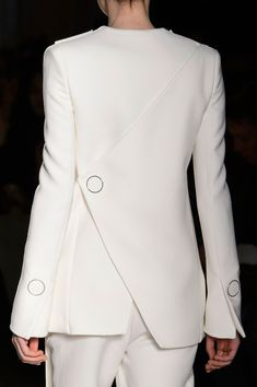 White jacket with contemporary cut & button accents; fashion details // Gabriele Colangelo Fall 2015