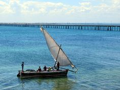 A bridge built in the connects Mozambique Island to Lumbo on the African mainland. Mozambique Beaches, East Africa, Vacation Places, Bolivia, Beach Resorts, Portuguese, Latina, Philippines, Thailand
