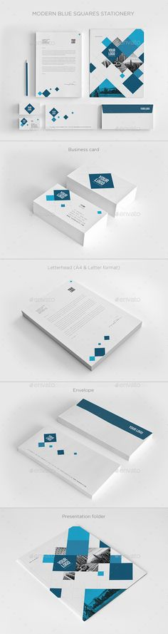 Modern Blue Squares Stationery - Stationery Print Templates