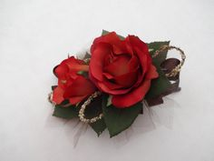 Corsage rust roses with chocolate ribbon by AlwaysElegantBridal, $15.00