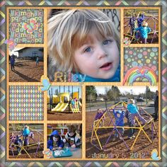 At School - Two Peas in a Bucket scrapbook page layout -  I like the use of many photos and the grid design.