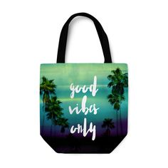 """Share positivity with passing people on your treks through the market with  this beach fashionable tote bag carrier, featuring the words """"Good Vibes Only"""" in a stylish typography font design on both sides! Available with  several different bag options to choose from, this green ombre infused  fashion accessory carrier tote features vivid landscape design of tropical  palm trees on both sides as well!   * Basic Option features a 1-inch wide cotton web strap * Adjustable Option ..."""