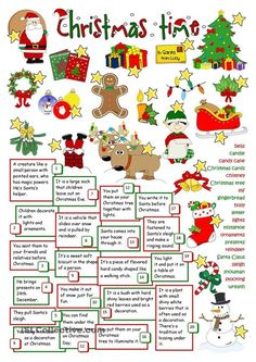 Christmas Time - English Esl Worksheets images ideas from Worksheets Ideas Christmas Tree And Santa, English Christmas, Christmas Games, Kids Christmas, Xmas, Christmas Riddles, Merry Christmas, English Lessons, Learn English