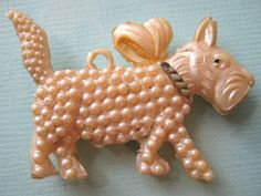40's VINTAGE Celluloid Pearly SCOTTIE DOG Charm Cracker Jack Toy Prize