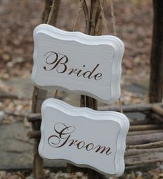 "Can be ""reserved"" signs too. Bride and Groom Chair Signs Photo Props Jute by MichelesCottage, $29.95"