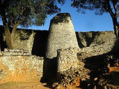 Great Zimbabwe, Africa. The Conical Tower is solid, therefore no openings.  Its purpose is unknown.