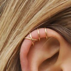 Minimalist Earrings, Ear Climber, Double Line & Criss Cross Ear Cuff, Gold Earrings, Boho Ear… – 2019 Best Piercing Models Moon Earrings, Cartilage Earrings, Gold Hoop Earrings, Crystal Earrings, Stud Earrings, Cartilage Piercings, Upper Ear Earrings, Tongue Piercings, Fake Cartilage Piercing
