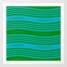 Blue Green Waves Art Print by Cassie Peters - $14.00
