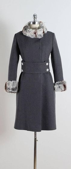 Vintage 1960s Charcoal Grey and Chinchilla Fur Coat