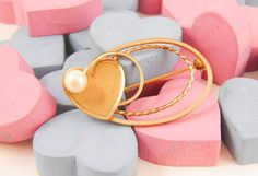Heart Brooch Vintage Gold Pearl Pin DCE 1970s by ThePickingPair