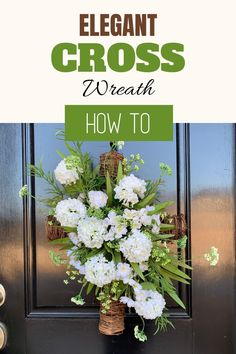 This wreath is super quick and easy to make. Follow these easy step by step instructions for this Elegant Spring Cross Wreath. Beautiful for Easter decor! Artificial Flower Arrangements, Artificial Flowers, Floral Arrangements, Graveside Decorations, Diy Home Decor Projects, Decor Ideas, Outdoor Projects, Craft Ideas, Cross Wreath