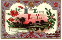"Mfg. P. Sander  Series:  492  Circa: Early 1900's  Embossed, Gold and Silver Foil Postcard reads:  ""A Happy New Year""."