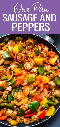 This One Pan Sausage Peppers and Onions is made with turkey sausage, bell peppers, mushrooms and onions tossed in a simple tomato sauce. It's the perfect one pan recipe for busy weeknights! #sausageandpeppers #skillet #mealprep #onepan