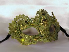 Green macramé mask masquerade mask elegant mask by Cocone on Etsy, $69.00