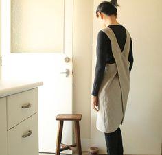 LINEN PINAFORE SET of 2 / womens linen clothing / linen dress / smock / tunic / cafe apron / organic / australia / handmade by pamelatang