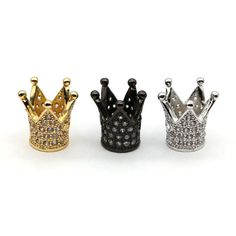 Jewelry Accessories To Bracelets Making Gold-color Micro Pave CZ  Crown Charms for Bracelet Making Supplies FTS-8