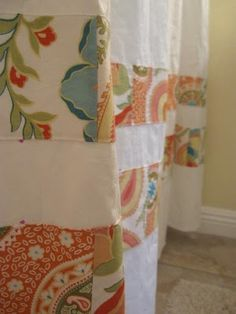 Sewing Curtains handmade mommy: Falling back in love.with my shower curtain Homemade Curtains, Curtain Sewing Pattern, Hobbies And Crafts, Rod Pocket Curtains, No Sew Curtains, Curtain Patterns, Shower Curtain, Patchwork Curtains, Fabric Scraps
