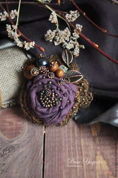 """Купить Брошь """"Пряный лес"""" - тёмно-фиолетовый, брошь ручной работы, брошь в форме цветка"""