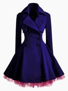 Double Breast Coat In Purple 80.99