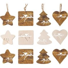 Wooden Decorations - Pack Of 12 at Homebase -- Be inspired and make your house a home. Buy now.