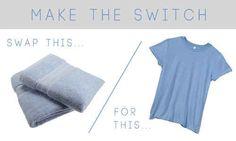 Economize muito tempo secando o cabelo com uma camiseta, em vez de uma toalha.