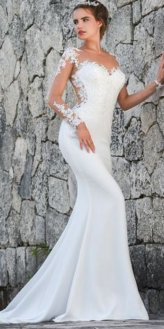 Fantastic Tulle & Acetate Satin Scoop Neckline Mermaid Wedding Dress With Lace Appliques