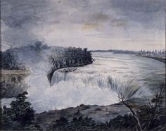 """View of the Falls of Niagara,"" William Dunlap, 1815, watercolor on wove paper, 8 3/4 in. x 11 1/16"", Addison Gallery of American Art."