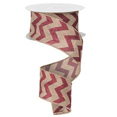 "Chevron Burlap Ribbon Size 2.5"" in width; 10 yards in length Color: Natural, Burgundy Material: Jute Wire Edge"