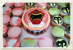 Power ranger themed personal cake and cupcakes #powerrangercupcakes
