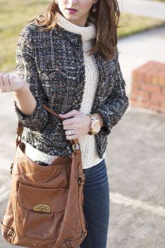 preppy style - details, tweed jacket, cream turtleneck, dark skinnies, cognac handbag, rose gold watch