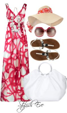 Red and white print dress outfit