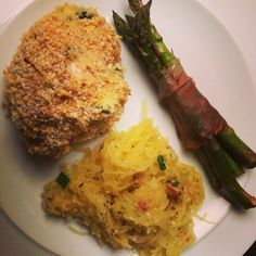 Spinach and cheese stuffed chicken, spaghetti squash and prosciutto wrapped asparagus! Great Sunday night dinner! Say yes to 2 veggie side dishes!