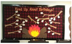 Camping Bulletin Boards, Birthday Bulletin Boards, Classroom Bulletin Boards, Classroom Door, Classroom Themes, Infant Classroom, Classroom Camping Theme, Preschool Birthday Board, Classroom Birthday Displays