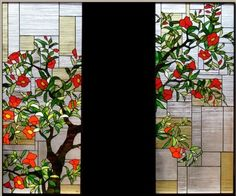 Japanese style stained glass panel  Pomegranate - Glass Studio Tappu