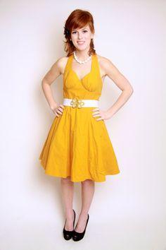 50s mustard yellow dress on Etsy