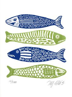 linocut fish green spring green blue navy blue by linocutheaven