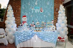 Party dessert / candy table decor and backdrop (Winter Wonderland theme), specially designed by ParteeBoo - The Party Designers Winter Party Themes, Winter Birthday Parties, Frozen Birthday Party, Birthday Party Themes, Birthday Ideas, Frozen Party, Winter Theme, 5th Birthday, Winter Wonderland Decorations