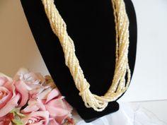 Cream Faux Pearl Multi-Strand Necklace – Faux Cream Pearl Necklace – Multi Strand Faux Pearl Necklace
