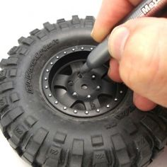 Many truck wheels have molded-in hardware detailing, but since the wheel is all black they don't stand out much. An easy way to bring out the detail is to highlight the nuts and bolts with a silver. Weld Wheels, Truck Wheels, Wheels And Tires, Rc Tires, Traxxas Rustler, Mustang Wheels, Hobby Cars, Rc Cars And Trucks, Truck Paint