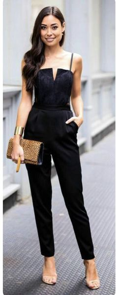 Black Jumpsuit, Nude heels & Leo Print bag.