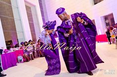 Royalty in purple. my oga will look so good in this! Yoruba Nigerian bride and groom dancing the night away at their wedding. Gele and Nigerian wedding traditional outfits. Nigerian Outfits, Nigerian Dress, Nigerian Bride, Nigerian Weddings, African Weddings, Nigerian Clothing, African Attire, African Fashion Dresses, African Dress