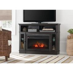 Home Decorators Collection Grafton 46 in. Media Console Infrared Electric Fireplace in Anthracite Finish