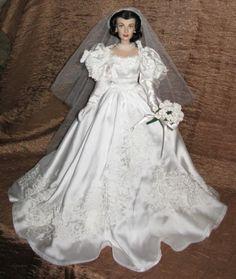 Franklin-Mint-Gone-Wind-GWTW-Scarlett-doll-Bride-Wedding-Satin-Roses-Bouquet-MIB